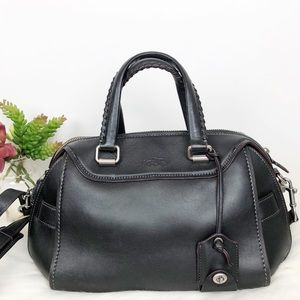 Coach Ace Satchel 37017 Black Glovetanned Leather